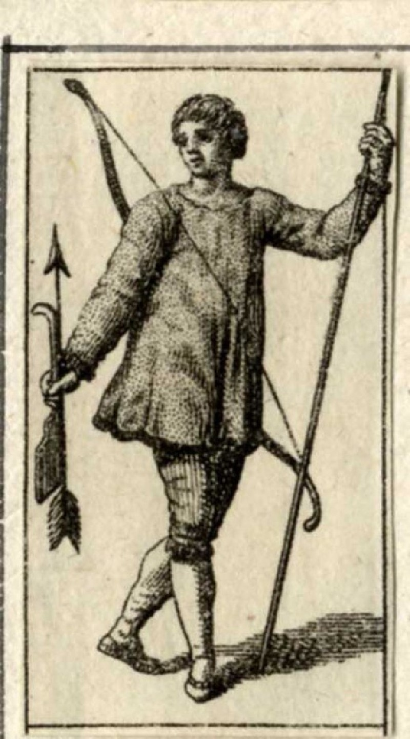 A young man with bow, arrow and pike