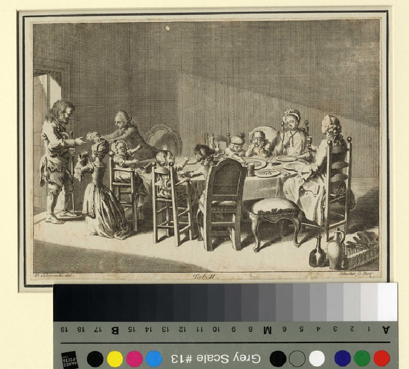 A family dining around a table (WA1863.11557, record shot)