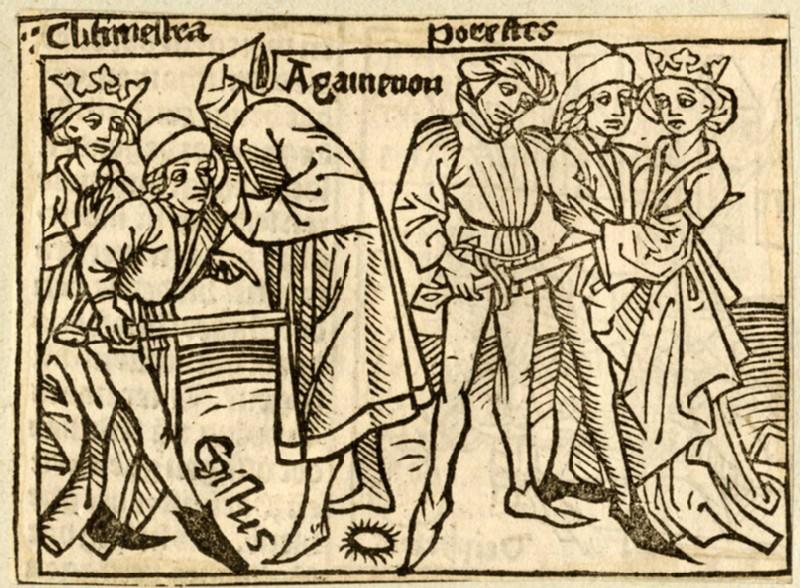 Recto: Clytemnestra, Agamemnon, Orestes and Aegisthus<br />Verso: letterpress