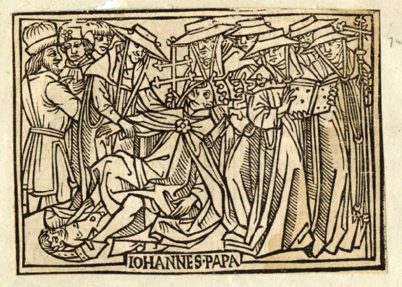 Recto: Pope Joan giving birth<br />Verso: Irene, Empress of Constantinople