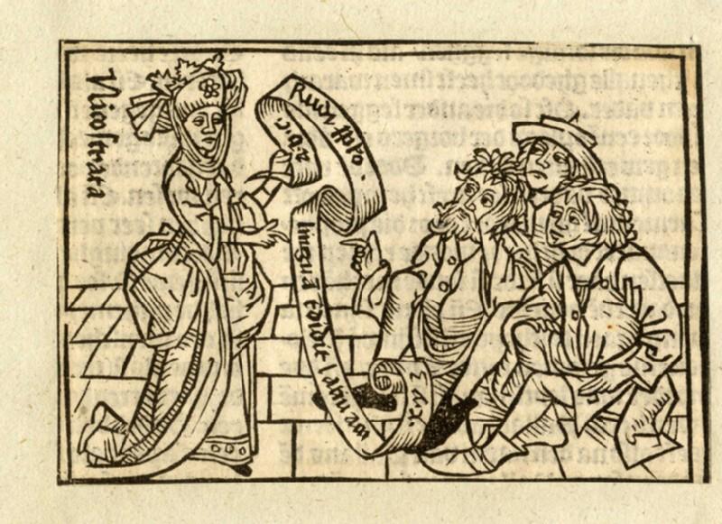 Recto: Nicostrata, or Carmenta, daughter of King Ionius<br />Verso: letterpress (WA1863.11644, record shot)