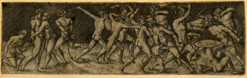 Fight between eleven naked warriors in various contortions (WA1863.11894, record shot)