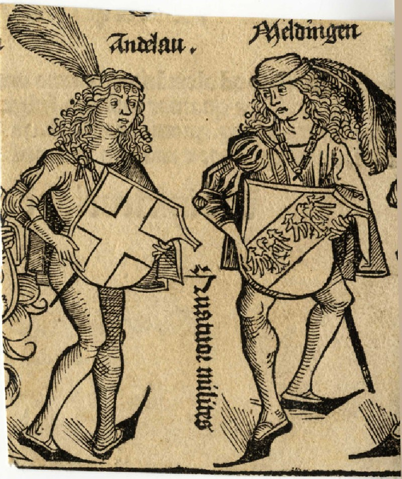 Two German noblemen presenting their coats of arms