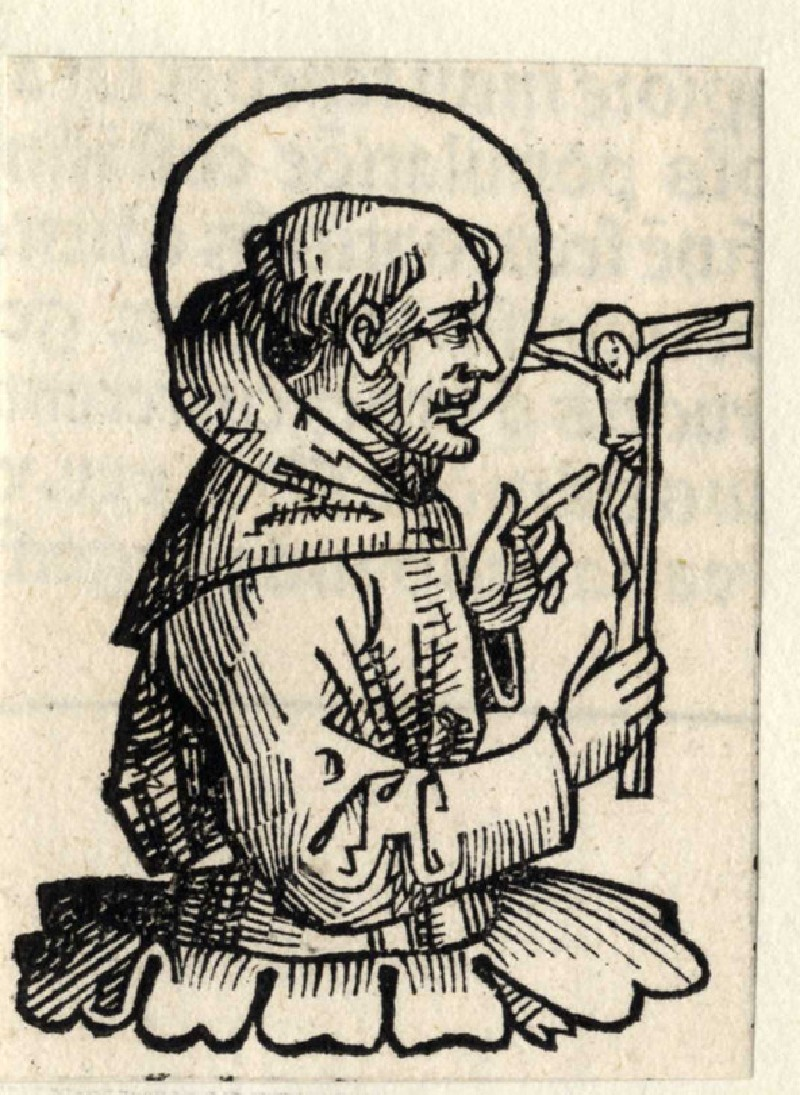 Saint holding a crucifix