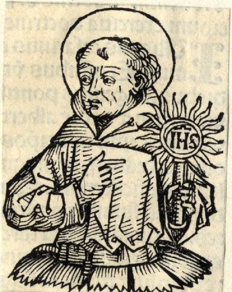 Saint pointing at the Christogram