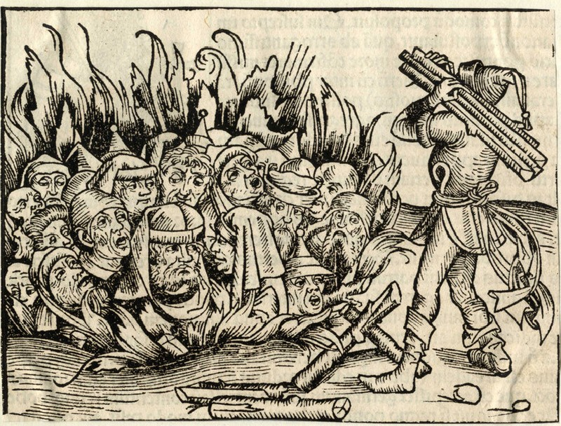 Jews burnt during the bubonic plague, accusing them in the contamination of Christians wells