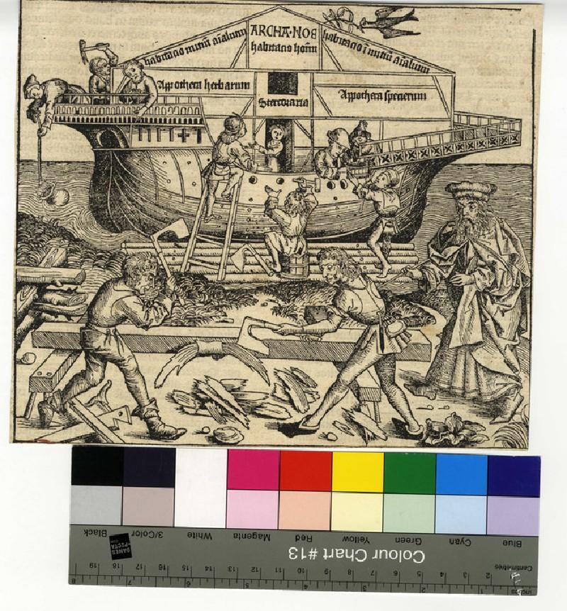 Recto: Noah building the Ark<br />Verso: letterpress