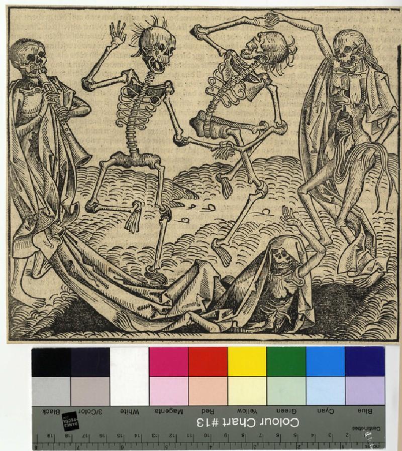 Recto: The Dance of Death<br />Verso: letterpress