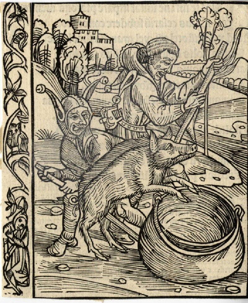 Recto: Two fools and a pig overturning a cauldron<br />Verso: Letterpress (WA1863.12681, record shot)