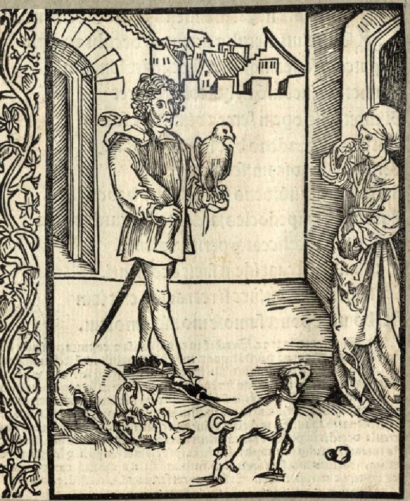Recto: The fanatical falcon and dog lover<br />Verso: Letterpress