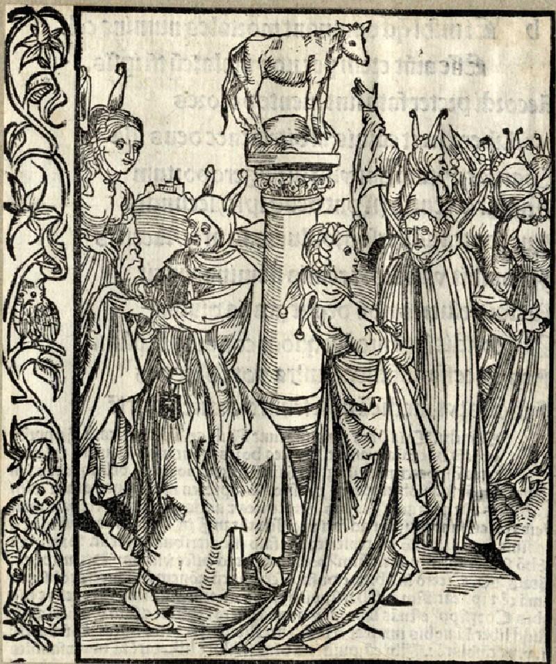 Recto: The dance around the Golden Calf<br />Verso: Letterpress (WA1863.12698, record shot)