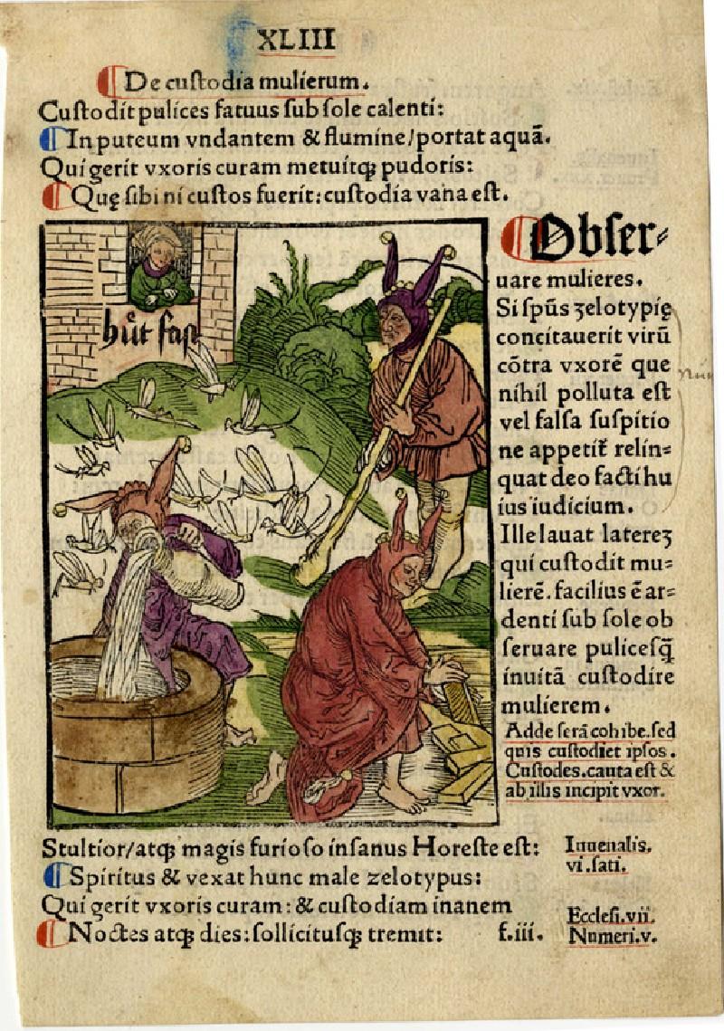 Recto: The vigilant fool (De custodia mulierum)<br />Verso: Letterpress