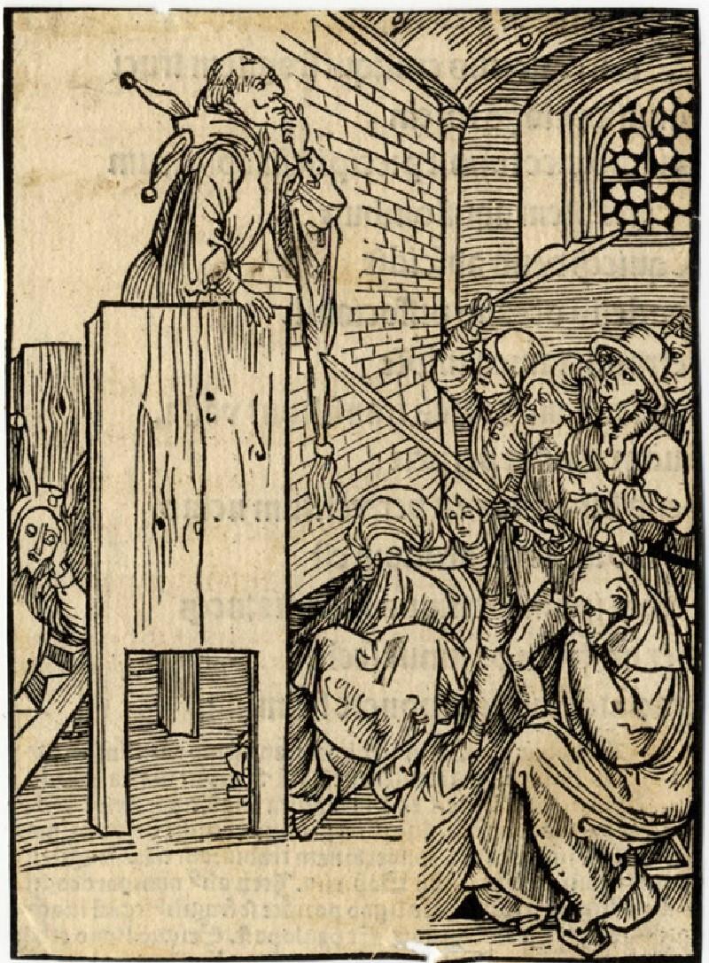 Recto: Fool in the pulpit<br />Verso: Letterpress (WA1863.12734, record shot)