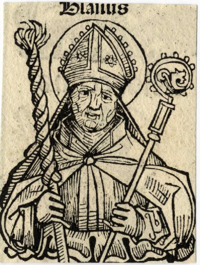 Recto: Saint Blaise<br />Verso: Pope Eusebius