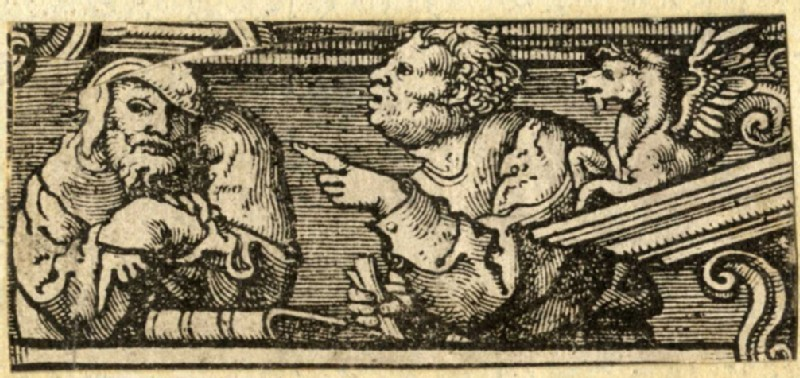 Two spectators from the ornamental frame for the Scenes for a Biblia Pauperum
