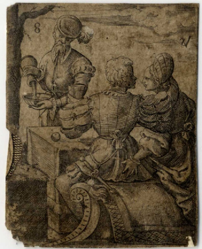 Two men and a women drinking