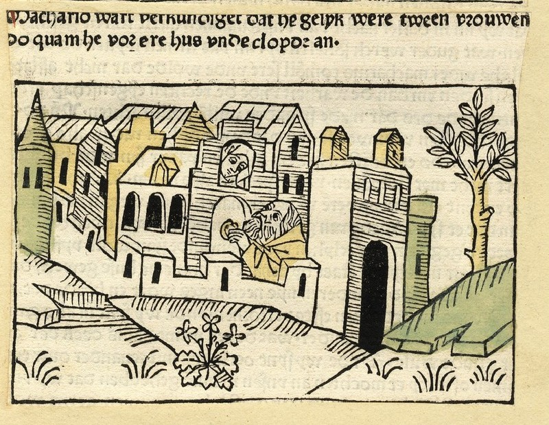 A hermit knocks at a door