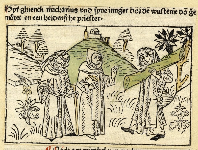 Two hermits meet a man carrying a tree trunk