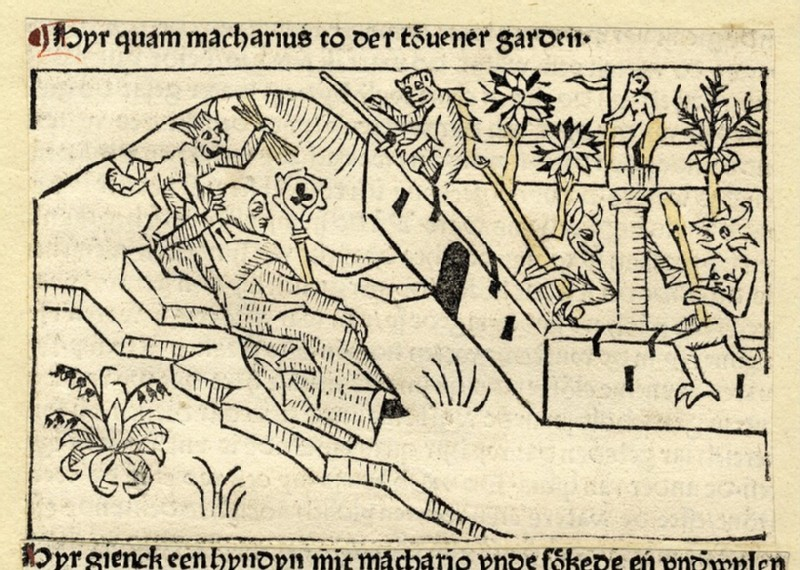 A hermit lying down and devils