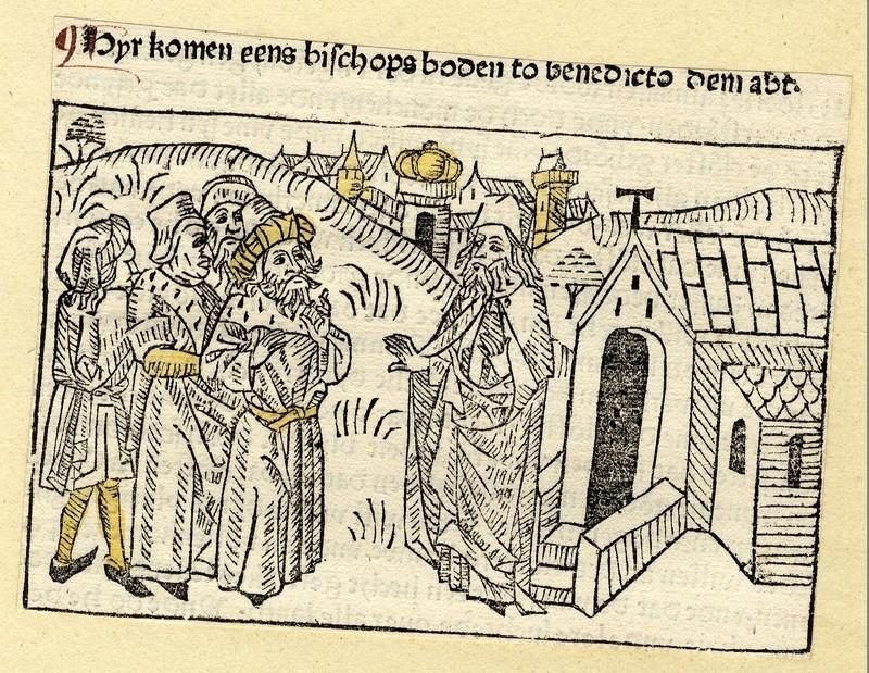 A group of men meet a clergyman near a city