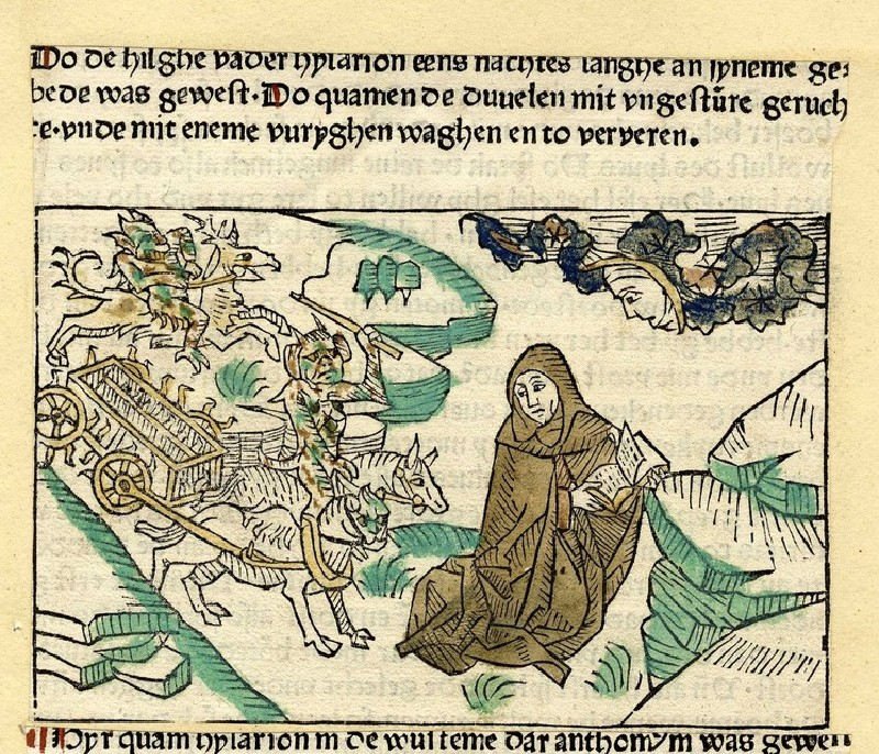 A hermit is chased by a chariot of demons (WA1863.6771, record shot)