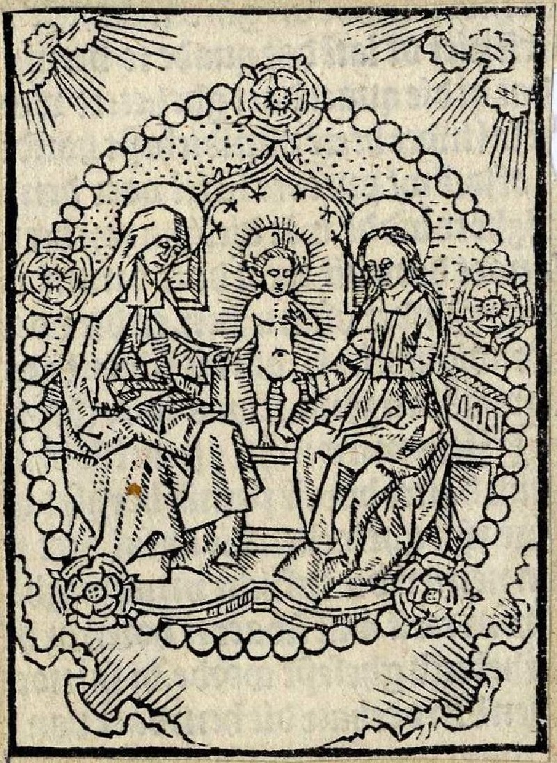 The Holy Family: the Virgin Mary with the infant Jesus and Elizabeth