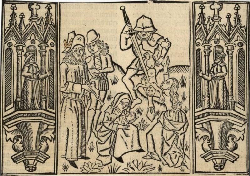 Recto: The Judgement of Solomon <br />Verso: Initial alphabet letter C (WA2003.Douce.6148, record shot)