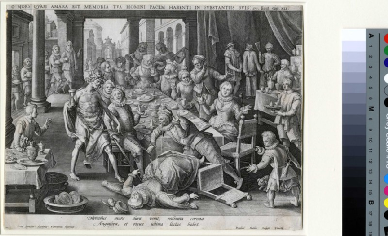 Death striking a rich lady at a banquet