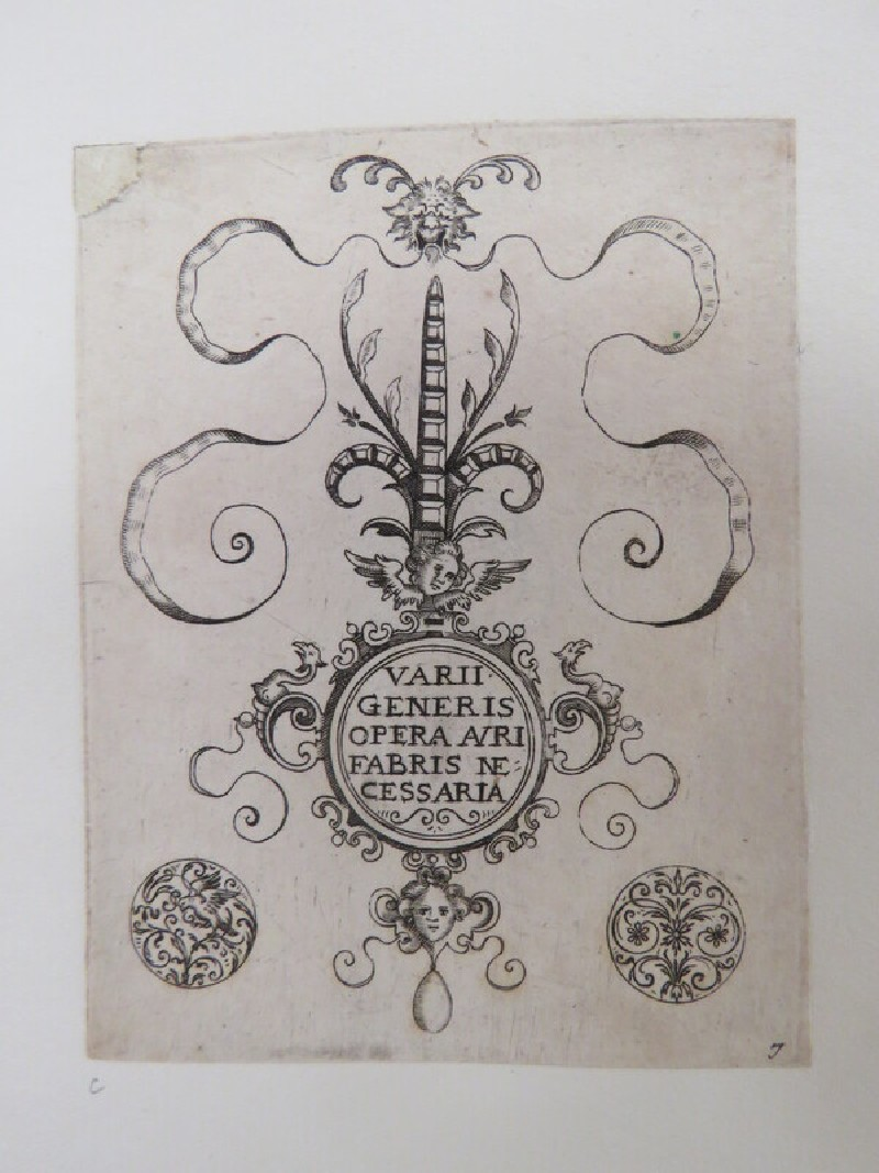 Plate 1: Frontispiece to Varii Generis Opera Avrifabris Necessaria with title in centre of clasp design flanked by two small ornaments, from Douce Ornament Prints Album I (WA1915.84.3.3, WA1915.84.3c, record shot)
