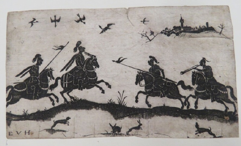 Hunting scene in black with four knights on horseback in middle ground with jumping rabbits and dogs in foreground with birds flying overhead, town in background, from Douce Ornament Prints Album I