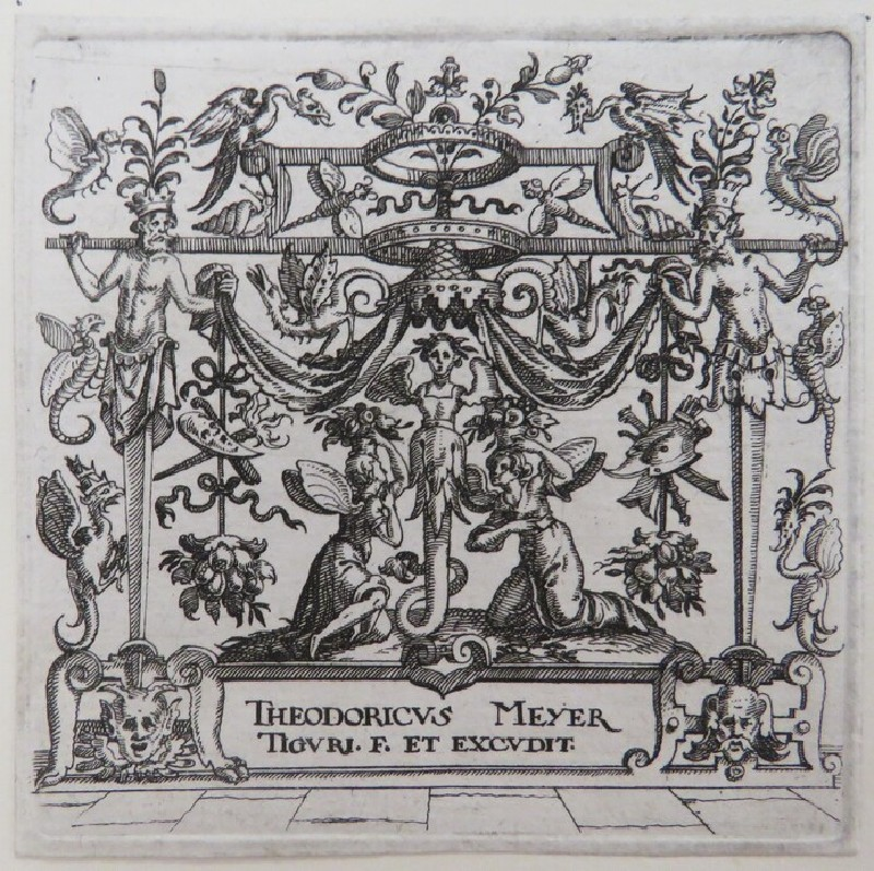 Frontispiece, at centre female herm surrounded by two angels covered by baldachin held by two male herms and pergola with foliage and grotesque bugs, from Douce Ornament Prints Album I (WA1915.84.50.1, WA1915.84.50a, record shot)