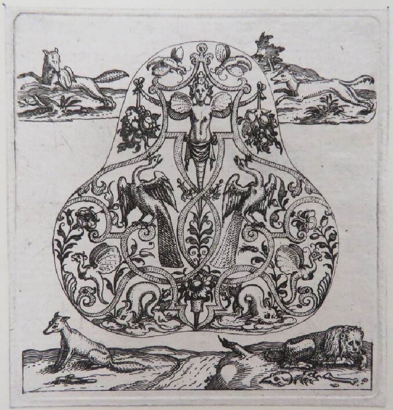 Pear-shaped pendant of strapwork with herm in centre holding grapes flanked by two peacocks surrounded by two fox hunting and fable of lion, fox, and donkey hunting, from Douce Ornament Prints Album I (WA1915.84.50.3, WA1915.84.50c, record shot)