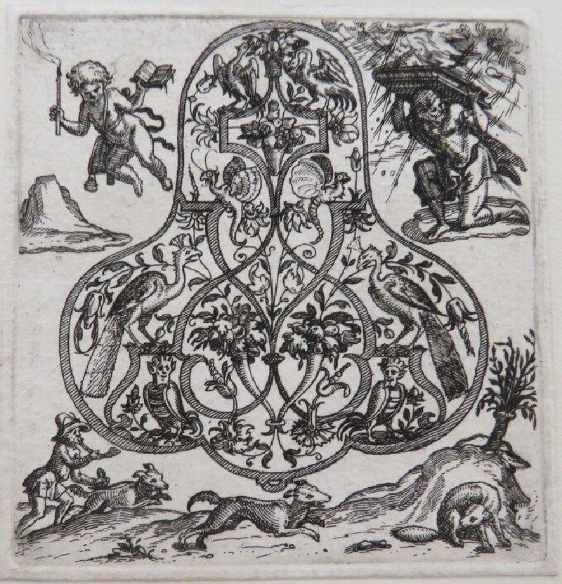 Strapwork pendant design with peacocks and grotesques, surrounded by putti holding a book, man using book to protect himself, and man with dog chasing foxes, from Douce Ornament Prints Album I (WA1915.84.53.1, WA1915.84.53a, record shot)