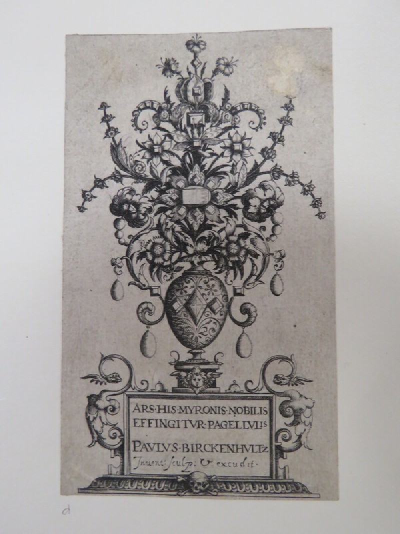 Frontispiece for a series of prints with a vase resting on an inscribed socles filled with flowers and jewels, from Douce Ornament Prints Album I (WA1915.84.5.4, WA1915.84.5d, record shot)