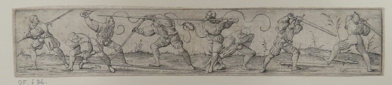 Eight lansquenets fencing with spears and swords on a bare landscape with small flowers, from Douce Ornament Prints Album I