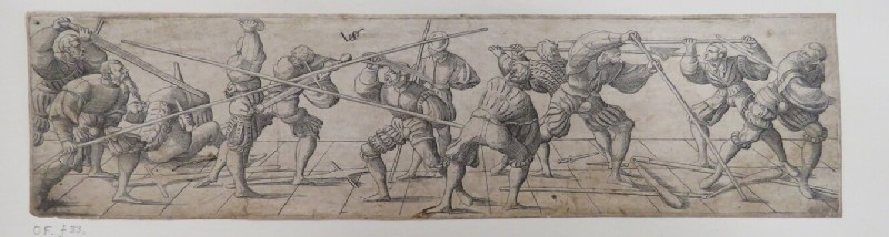 Thirteen lansquenets at various fencing exercises with swords and spears standing on a ground with a grid design containing orthogonal lines, from Douce Ornament Prints Album I (WA1915.84.70.3, WA1915.84.70c, record shot)
