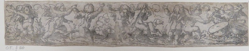 Frieze of pairs of putti dancing while one putti plays music on drums with a shallow picture plane, dog in background behind putti, from Douce Ornament Prints Album I