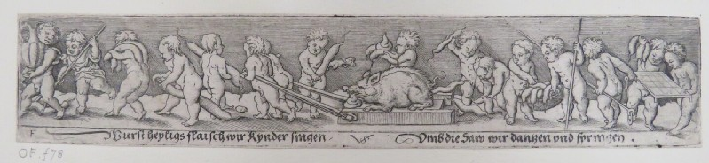 Frieze of a triumphal procession with two putti dragging a dead hog on a sled in centre surrounded by putti holding baskets of sausages, from Douce Ornament Prints Album I (WA1915.84.70.6, WA1915.84.70f, record shot)