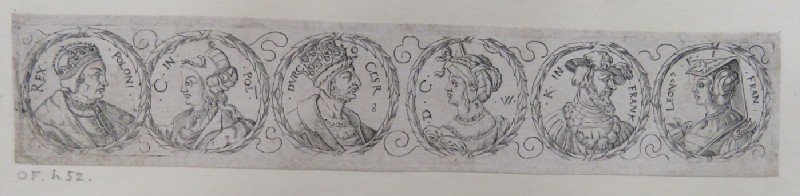 Frieze with six portrait medallions of the rulers of Poland, Turkey, and France with their wives with laurel leaf borders, from Douce Ornament Prints Album I (WA1915.84.72.1, WA1915.84.72a, record shot)