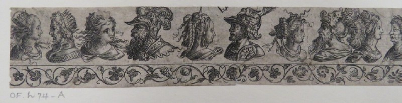 Frieze of the busts of five couples facing each other over a decorative grapevine border, from Douce Ornament Prints Album I (WA1915.84.72.3, WA1915.84.72c, record shot)