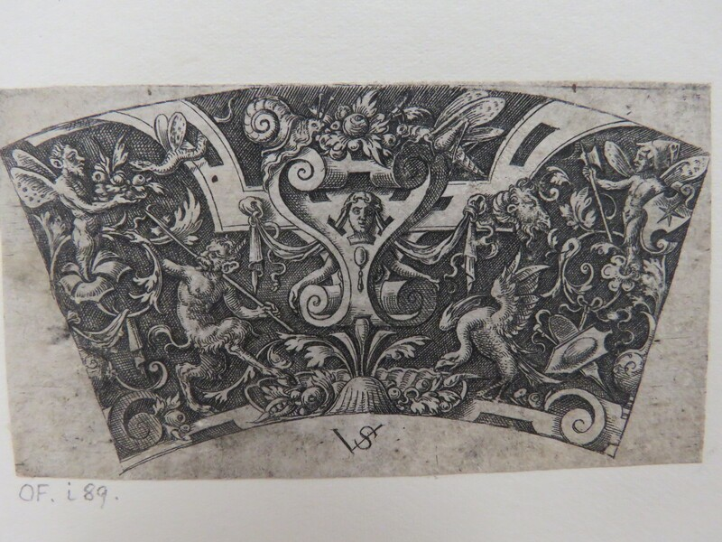 Design for a segment of a bowl rim with a strapwork escutcheon with mask flanked by a satyr with a halberd and a bird, surrounded by grotesque foliage and insects, from Douce Ornament Prints Album I