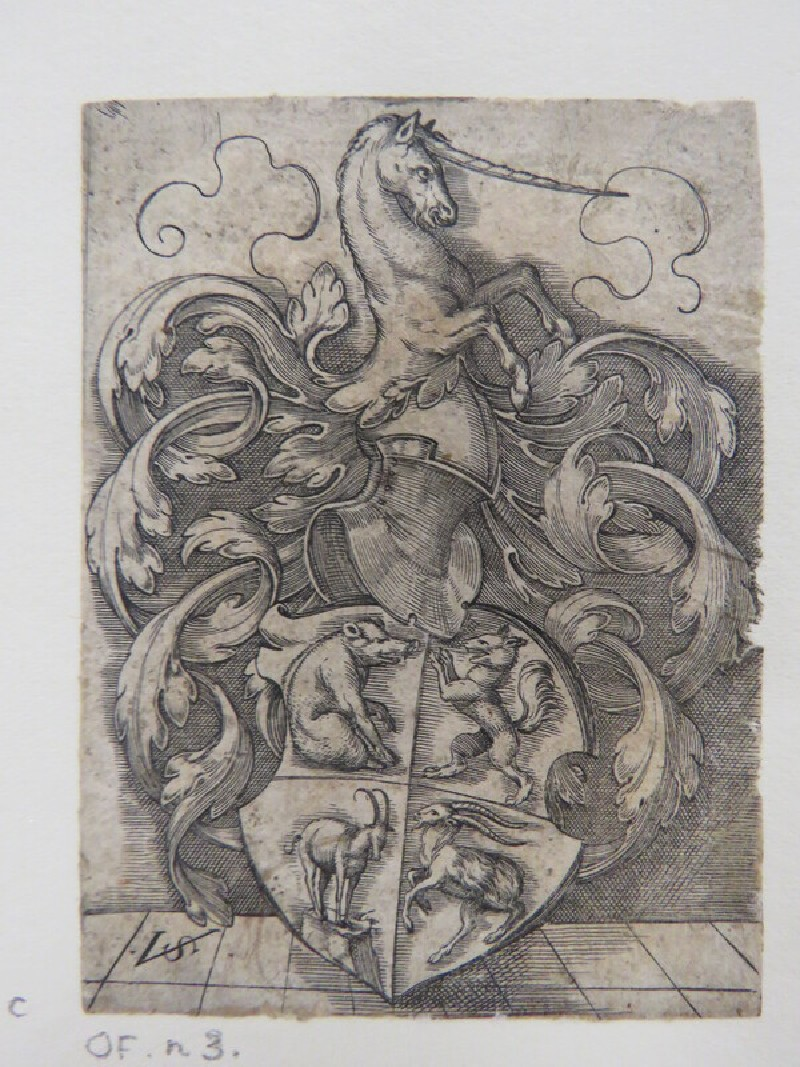 Coat of arms with a wild board, a fox, a chamois, and a goat surmounted by a helmet with half of a unicorn positioned on top surrounded by rinceaux foliage, from Douce Ornament Prints Album I
