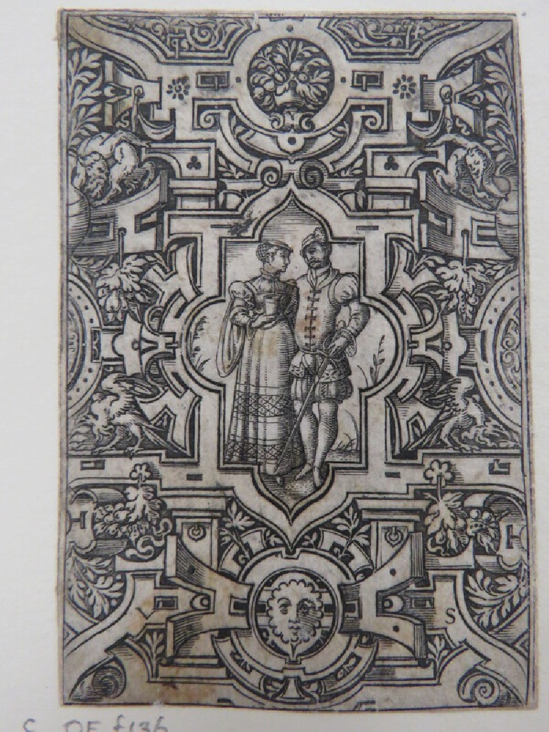 Couple holding sword and cup in centre cruciform medallion with rounded and pointed arched ends surrounded by strapwork, grotesques, and foliage, from Douce Ornament Prints Album I