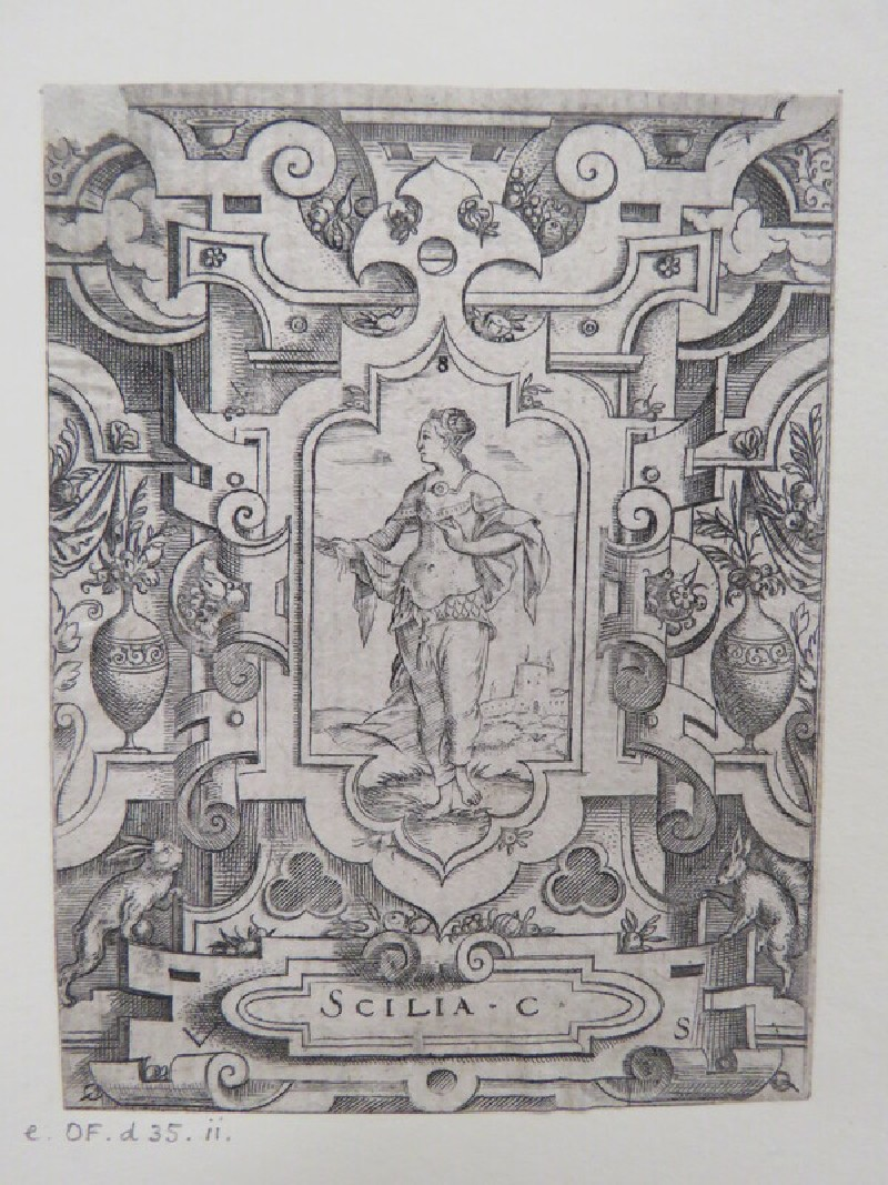 Scylla at centre in strapwork cartouche surrounded by strapwork with clouds behind, vases with foliage, and curtains, and two rabbits at base, from Douce Ornament Prints Album I