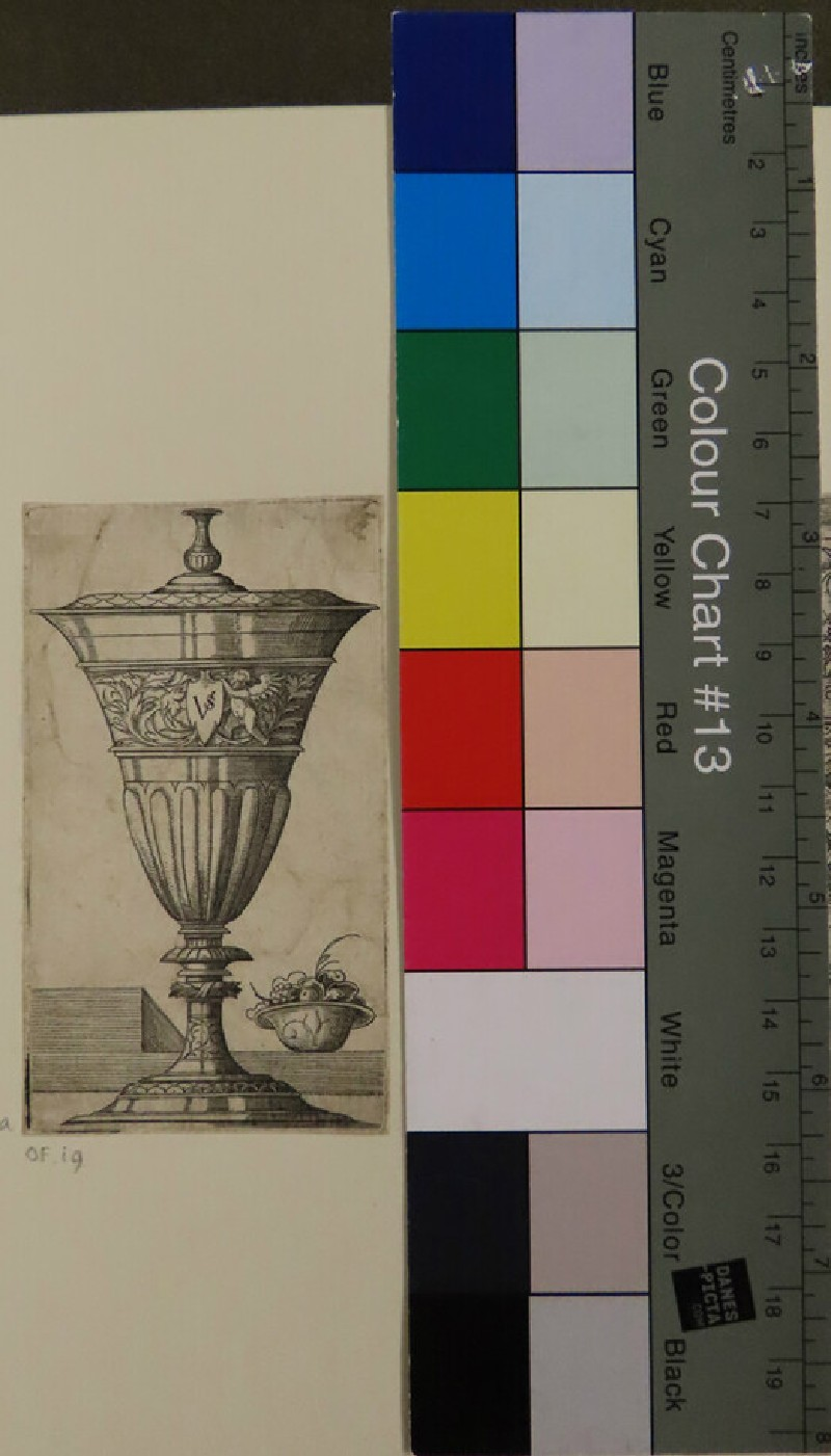 Design for a goblet with lid and a bowl of fruits, from Douce Ornament Prints Album II (WA1915.85.55.1, WA1915.85.55a, record shot)