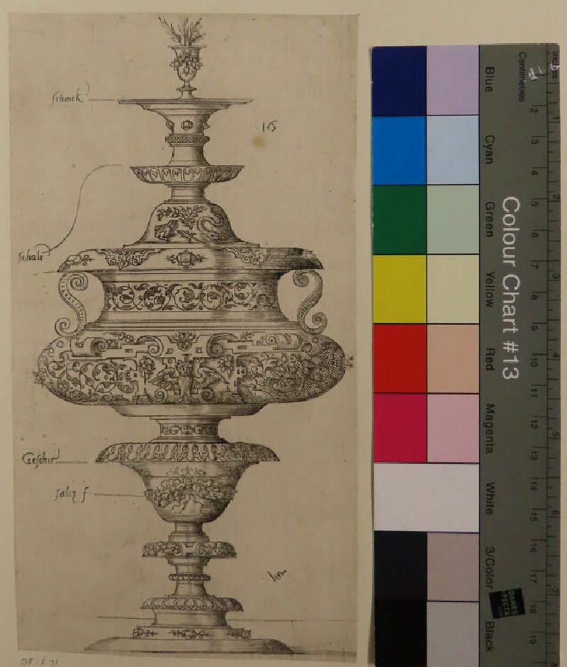 Plate 16: Design for a double goblet with an owl, from Douce Ornament Prints Album II