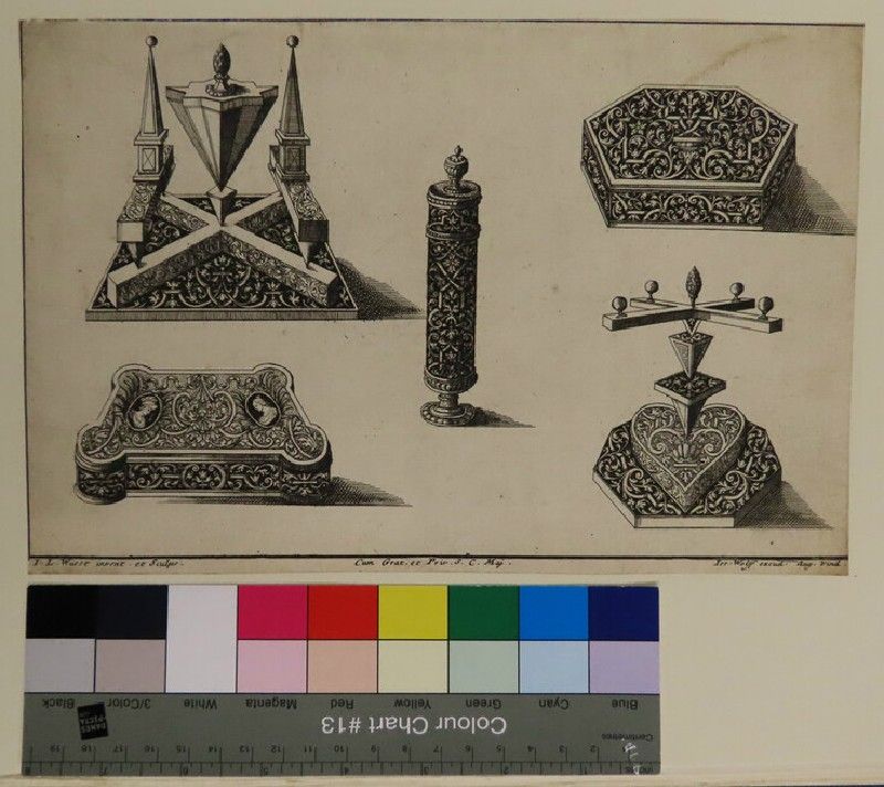 Five ornaments design for goldsmith with schweifwerks against black backgrounds, from Douce Ornament Prints Album II (WA1915.85.93, record shot)