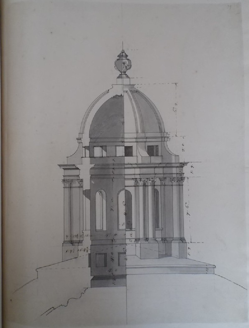 Design for the section and elevation of a lantern for the dome of the Radcliffe Library (WA1925.342.109, record shot)