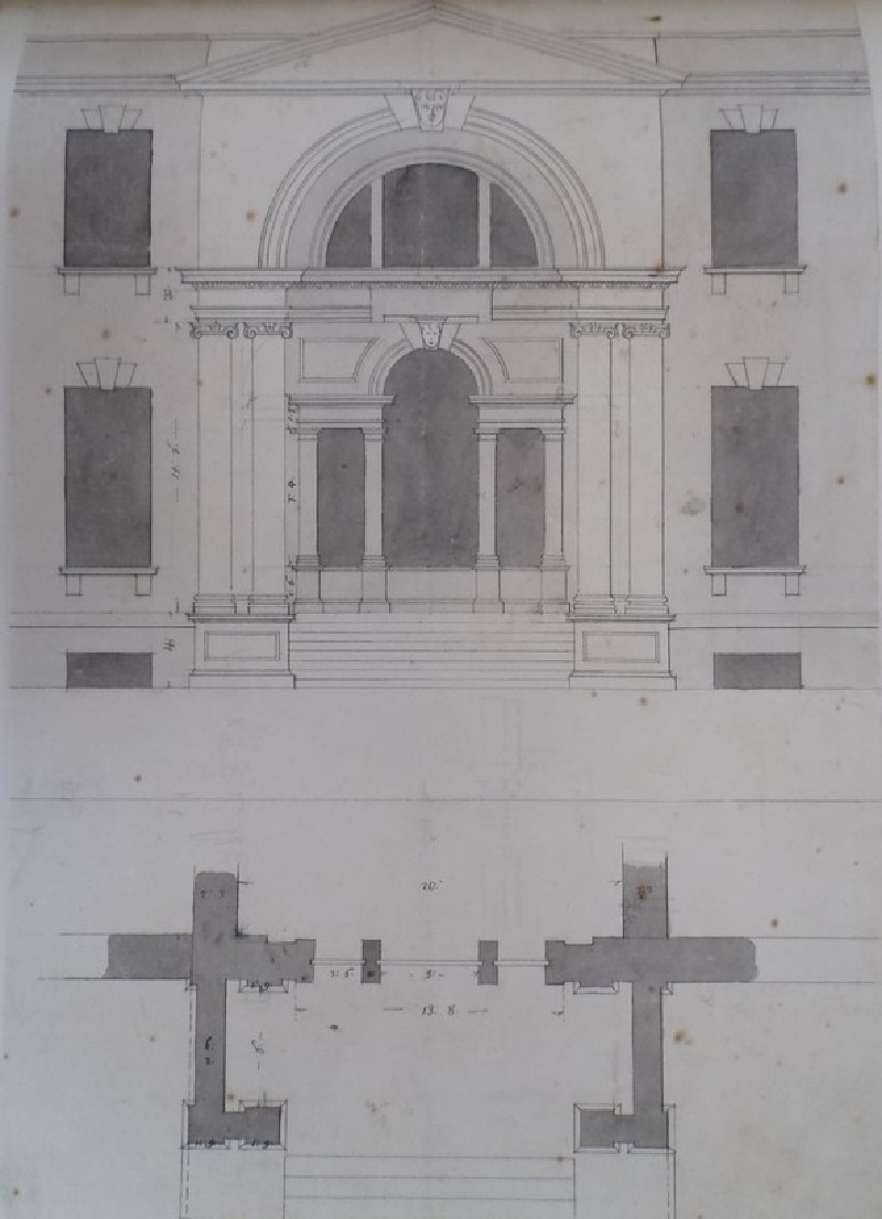 Design of the elevation and plan of an important window motif for a house (WA1925.342.113, record shot)