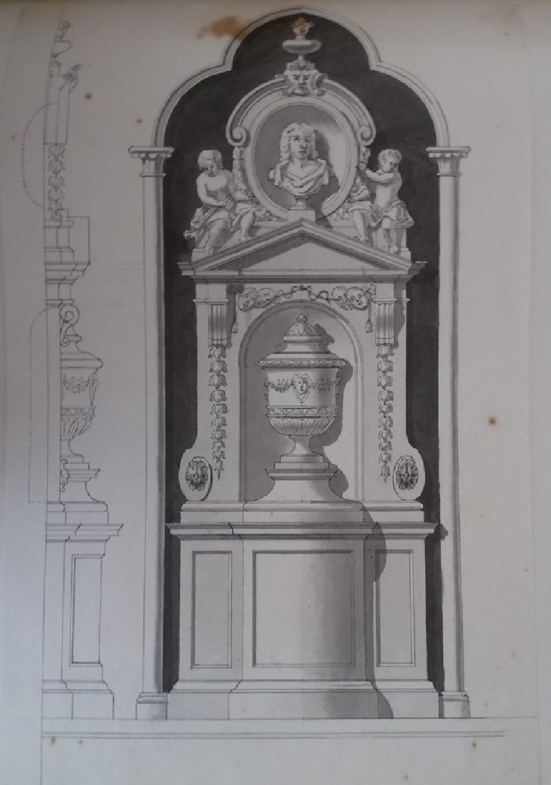 Design of a monument with a bust and an urn (WA1925.342.116, record shot)